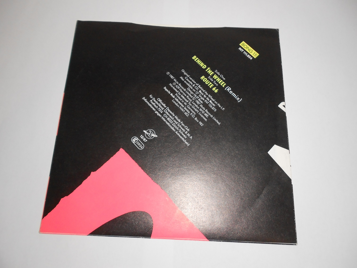 "Depeche Mode ‎– Behind T̈he Wheel (Remix) (7"",Single)"